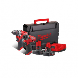 Pack perceuse à percussion + tournevis compact MILWAUKEE 12V - 2 bat Li-Ion 4Ah + chargeur + coffret