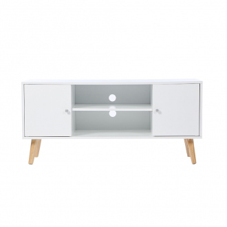 Meuble TV - 2 niches + 2 portes - 113 x 40 x 53,5 cm - blanc