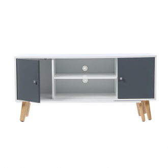 Meuble TV - 2 niches + 2 portes - 113 x 40 x 53,5 cm - blanc & gris