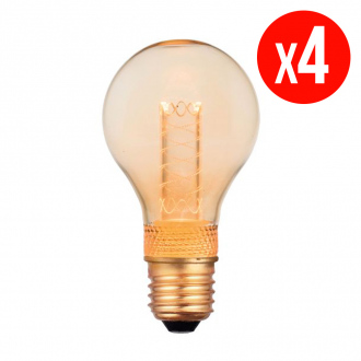 Lot de 4 ampoules décoratives LED - E27 - 2 W - blanc chaud