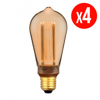 Lot de 4 ampoules décoratives LED ST64 - E27 - 4 W - blanc chaud