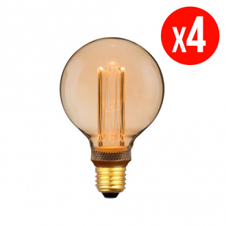 Lot de 4 ampoules décoratives LED G95 - E27 - 4 W - blanc chaud