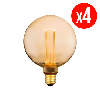 Lot de 4 ampoules décoratives LED G125 - E27 - 4 W - blanc chaud