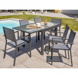 Ensemble repas extensible Tolede - 6 places - aluminium - anthracite