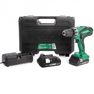 Perceuse à percussion PRO 18V HITACHI - 2 bat Li-Ion 3Ah - chargeur + coffret de transport