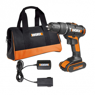Perceuse-visseuse Worx 20V - 1 bat Li-Ion 1,5Ah - sac de transport + chargeur