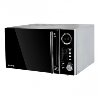 Micro-ondes & grill 1000W - plaque Ø27cm - 10 cuissons - noir & inox