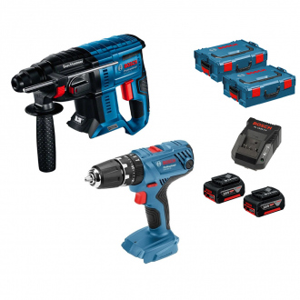 Pack BOSCH 18V : perforateur + perceuse à percussion - 2 bat Li-Ion 4Ah + chargeur + coffrets