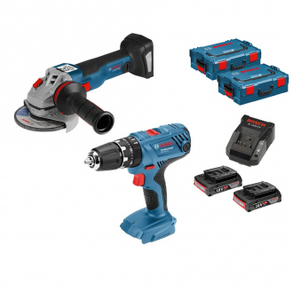 Pack BOSCH 18V : meuleuse d'angle + perceuse à percussion - 2 bat Li-Ion 2Ah + chargeur + coffrets