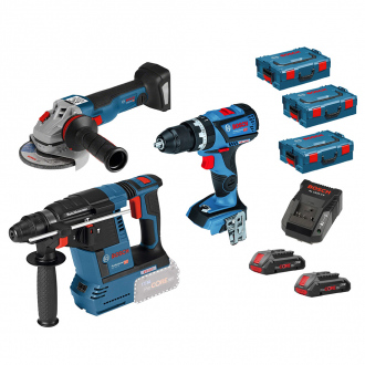 Pack BOSCH 18V : perforateur + perceuse + meuleuse - 2 bat Li-Ion 4Ah + chargeur + coffrets