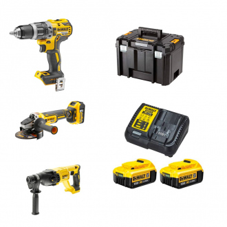 Pack DEWALT 18V : perceuse à percussion + meuleuse + perforateur - 2 bat Li-Ion 4Ah + chargeur + coffret