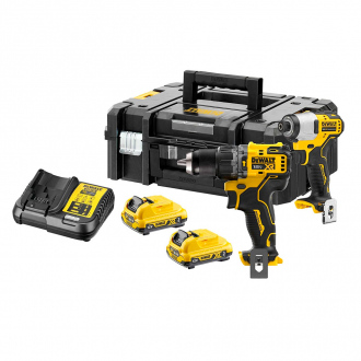 Pack DEWALT 12V : Perceuse à percussion + visseuse à chocs BRUSHLESS - 2 bat Li-Ion 3Ah + chargeur + coffret