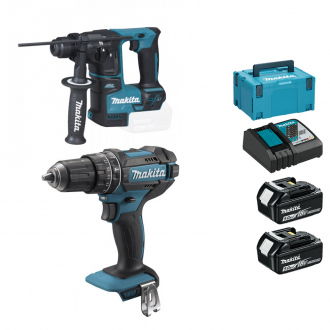 Pack 18V MAKITA : Perceuse à percussion + perforateur - 2 bat Li-Ion 5Ah + chargeur + coffret