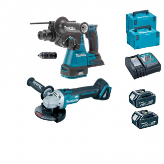 Pack 18V BRUSHLESS MAKITA : perforateur + meuleuse - 2 bat Li-Ion 5Ah - 2 coffrets MakPac + chargeur