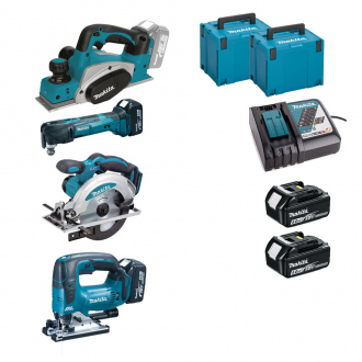 Pack 18V MAKITA : 4 machines + 2 bat Li-Ion 5Ah + chargeur + coffrets