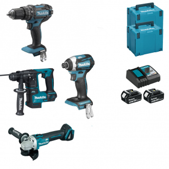 Pack 18V MAKITA : 4 machines - 2 bat Li-Ion 5Ah + chargeur + coffrets