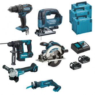 Pack 18V MAKITA : 6 machines + 2 bat Li-Ion 5Ah + chargeur + coffrets