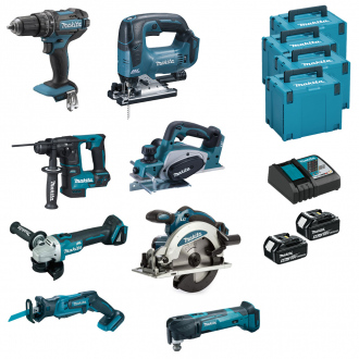 Pack 18V MAKITA : 8 machines + 2 bat Li-Ion 5Ah + chargeur + coffrets