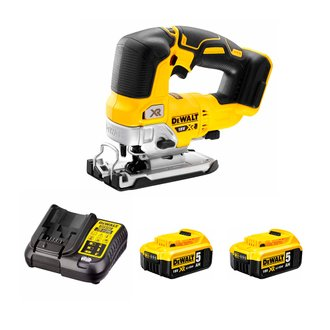 Scie sauteuse DEWALT 18V XR BRUSHLESS DEWALT - course 26 mm - 2 bat Li-Ion 5Ah + chargeur