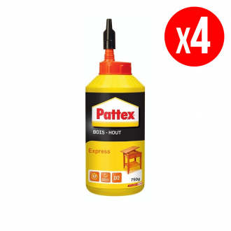 Lot de 4 colles à bois PATTEX Express - 4 x 750 g