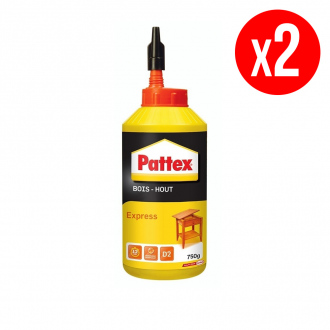 Lot de 2 colles à bois PATTEX Express - 2 x 750 g