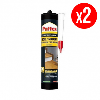 Lot de 2 colles de fixation forte PATTEX Rationnelle - spécial bois - 2 x 450 g