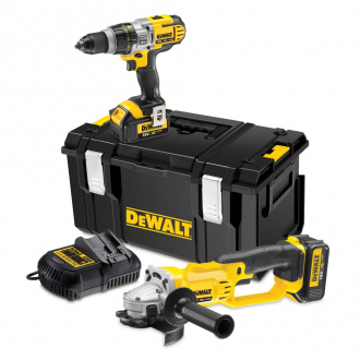 Pack PRO 18V Dewalt : perceuse à percussion + meuleuse - 2 bat Li-Ion 4Ah + chargeur & coffret