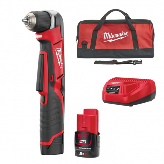 Perceuse d'angle 12V Milwaukee - 2 bat Li-Ion 2Ah + chargeur + sac de transport