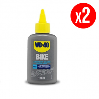 Lot de 2 lubrifiants chaîne conditions humides WD40 Bike - burette 2 x 100 ml