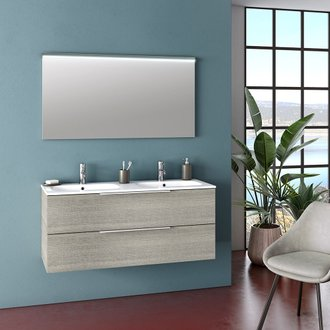 Ensemble suspendu MALMO double vasque 120 cm - 2 tiroirs + miroir LED - gris