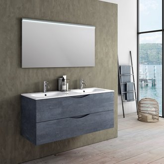 Ensemble suspendu OSLO double vasque 120 cm - 2 tiroirs + miroir LED - bleu