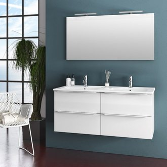 Ensemble suspendu MALMO 120 cm - double vasque + 4 tiroirs + miroir LED - blanc brillant