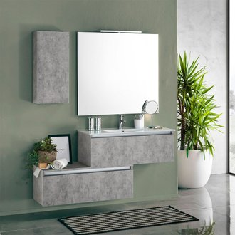 Ensemble suspendu PERTH 150 - 1 vasque + 1 base & 1 étagère murale + 1 tiroir + miroir LED - ciment