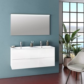 Ensemble suspendu MALMO double vasque 120 cm - 2 tiroirs + miroir LED - blanc brillant