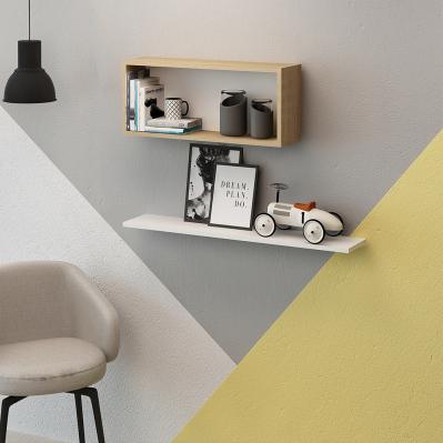 Ensemble de 2 étagères Blanca - 45 x 18 x 30 cm - chêne & jaune - Brico Privé