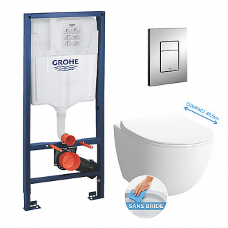 Pack bâti-support GROHE - cuvette Vitra Sento sans bride compacte + abattant soft close + plaque Skate Cosmopolitan chrome