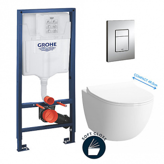 Pack bâti-support GROHE - cuvette Vitra Sento compacte + abattant soft close + plaque Skate Cosmopolitan chrome