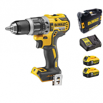 Perceuse à percussion 18V BRUSHLESS DEWALT - 70 Nm - 2 bat Li-ion 5Ah + chargeur + coffret TSTAK II