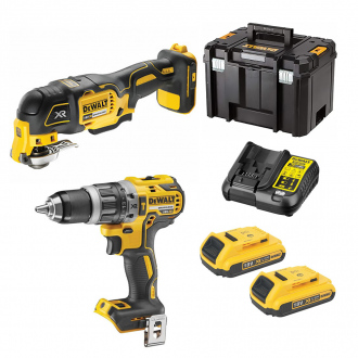 Pack 18V DEWALT : perceuse à percussion + multitool - 2 bat Li-Ion 2Ah + chargeur + TSTAK VI