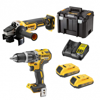 Pack 18V DEWALT : perceuse à percussion + meuleuse - 2 bat Li-Ion 2Ah + chargeur + TSTAK VI