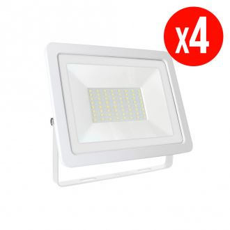 Lot de 4 projecteurs LED NOCTIS LUX 2 SMD - 50 W - blanc froid - IP65 - blanc
