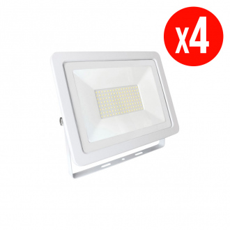 Lot de 4 projecteurs LED NOCTIS LUX 2 SMD - 100 W - blanc neutre - IP65 - blanc
