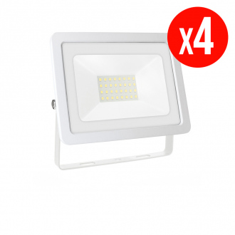 Lot de 4 projecteurs LED NOCTIS LUX 2 SMD - 30 W - blanc neutre - IP65 - blanc