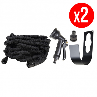 Lot de 2 tuyaux extensibles + pistolets multi-jets 8 fonctions - 45 m + Support en métal