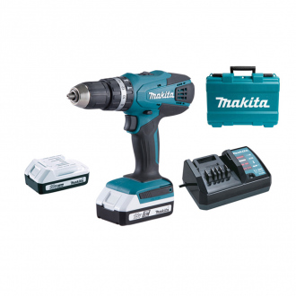 Perceuse à percussion 18V Makita - Ø 13 mm - 2 bat Li-Ion 1,5Ah + chargeur + coffret