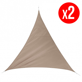 Lot de 2 voiles d'ombrages triangulairesQUITO - 5 x 5 m - 160 g/m² - taupe