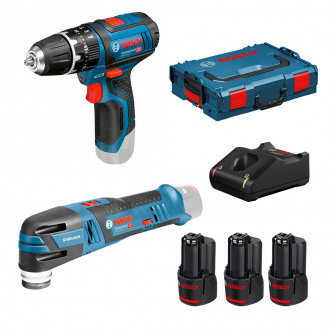 Pack BOSCH 12V : perceuse à percussion + multitool - 3 bat Li-Ion 2Ah + chargeur + coffret