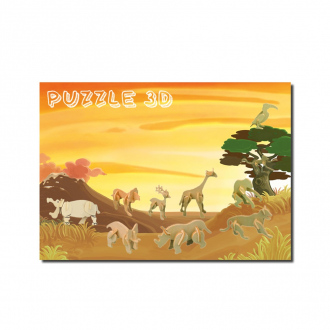 Pack 10 animaux de la jungle - mini puzzle 3D en bois recyclé