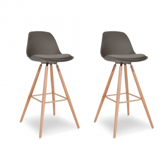 Pack de 2 chaises de bar KIRUNA - gris