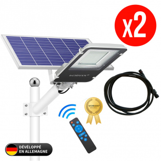 Lot de 2 projecteurs LED solaires + rallonges - 11,4 W - 50 m² - blanc neutre - IP65 - noir